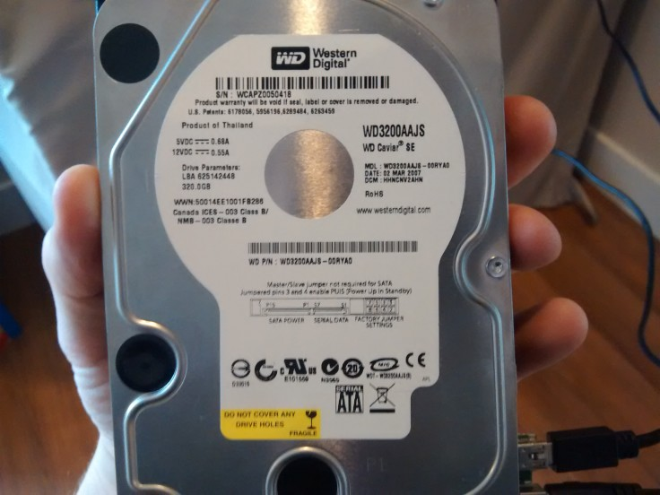 old hard drive brand and specifications on sticker